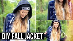 DIY Fall Jacket (Shirt Upcycle!) | LaurDIY. Loveeee thisss!!!!!! Can't wait to make it!! Upcycle an old flannel and sweatshirt :)
