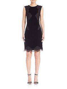 Alberta Ferretti Lace-Detail Sleeveless Dress