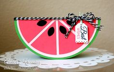 Watermelon card Fancy Fold Cards, Folded Cards, Penny Black, Magenta, Watermelon Birthday, Watermelon Decor, Interactive Cards, Shaped Cards, Card Patterns