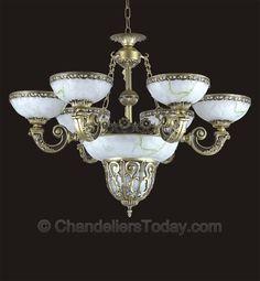 Alabaster Chandelier #073 6 3 Light