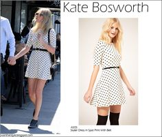WHAT SHE WORE:Kate Bosworth in Asos Skater dress in spot print with belt #fashion #dress #mini #spot #print #polka #dot #white #style #streetstyle #asos #chic #cute #bosworth #kate