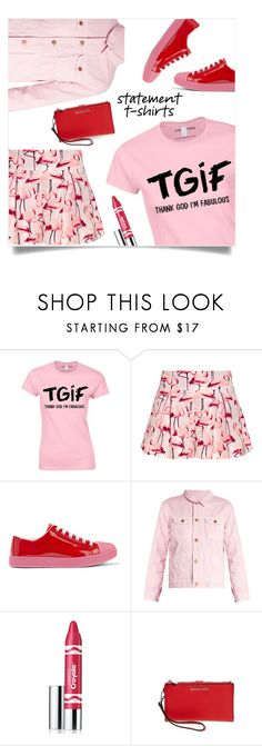 """""""Tip o' the hat to ABFAB =D"""" by collagette ❤ liked on Polyvore featuring RED Valentino, Prada, Bliss and Mischief, Clinique, MICHAEL Michael Kors and slogantshirts"""