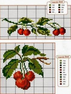 This Pin was discovered by Лес Cross Stitch Fruit, Cross Stitch Kitchen, Mini Cross Stitch, Cross Stitch Borders, Cross Stitch Rose, Cross Stitch Flowers, Modern Cross Stitch, Cross Stitch Charts, Cross Stitch Designs