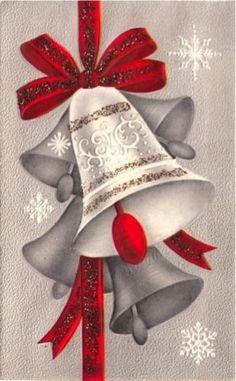 Vintage-Greeting-Card-Christmas-Bells-Glitter-L131