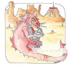 Rode draak - uniek persoonlijk schilderij - kraam cadeautje - op maat gemaakt - #tzolkin #larimares Red dragon - unique personal painting - nursery - made to fit