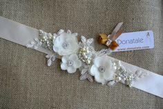 VENERA -Rustic Wedding Ivory Champagne Beige Bridal Sash Bridal sash belt Champagne Sash #weddingsash #weddingsashbelt #bridalsash #weddingaccessories #bridalaccessories