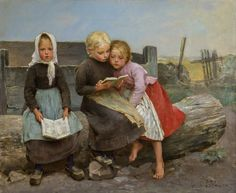 Children Reading (second half 1800s). Hugo Salmson (Swedish, 1843-1894). Oil on canvas. Göteborgs Konstmuseum.