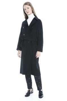 Cappotto in drap di lana, nero - Diffusione Tessile