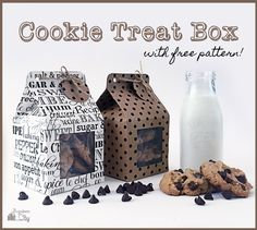 """Cookie Treat Boxes made from 12"""" square scrapbook paper.  Making the little window and lining it with acetate is optional, but it's very cute, and then you can use the cut-out part to make a tag."""