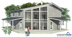 Modern House Plan with four bedrooms.  Vaulted ceiling in the living area.  Abundance of natural light.