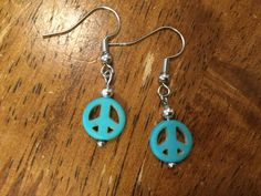 ON SALE- Expiring Soon; Get Them While You Can - Handmade Beaded Earrings - Turquoise Peace Sign Bead, Silver Spacers by cemFLORAL on Etsy