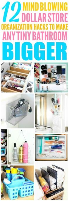 These Dollar Store Organization Hacks are THE BEST! I'm so happy I found these AMAZING tips! Now I have some smart ways to organize my small bathroom! Definitely pinning!