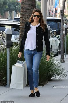 Out and about: Jennifer Garner was spotted shopping in Beverly Hills on Wednesday. The actress looked radiant as she walked down the street in jeans and a black cardigan Jennifer Garner Elektra, John Miller, Old Actress, Black Cardigan, Mail Online, Girl Crushes, Daily Mail, Beverly Hills, Wednesday