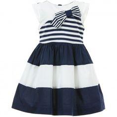 Mayoral Chic - Navy Blue & White Striped Cotton Dress | CHILDRENSALON