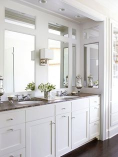 love the mirrors - build wall over the full wall mirror?