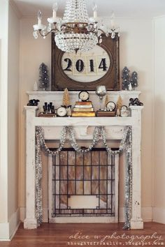 Thoughts from Alice: Symbolic New Year's Mantel Vignette (click for more images-- nice collage)