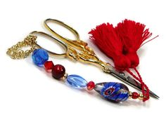 Scissor Fob Blue Red Scissor Minder Scissor Keeper by TJBdesigns Knitting Supplies, Scissors, Needlepoint, Creative, Red, Gifts, Handmade, Blue, Stuff To Buy