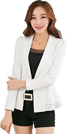 6bfd036f69c4f Womens Long Sleeve Falbala Solid Slim Casual Suit Jacket Blazer Coat      For more