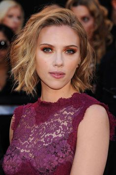 11 Ways to Style a Bob via Brit + Co - Up and Away: Just-so smoothed roots help give shape to ScarJo's messy bob. Style your short locks up and away for a more formal take on the mussed-up look.