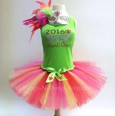 ADULT MARDI GRAS 2016 Costume Tutu Skirt 3pc Set by wingsnthings13