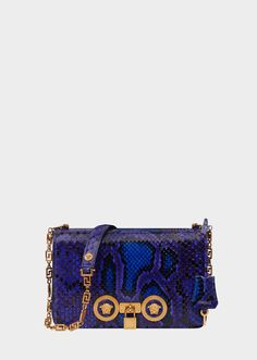 Versace Python Leather Icon Shoulder Bag for Women Versace Bag, Versace Purses, Small Leather Bag, Leather Bags, Python, Blue Shoulder Bags, Blue Bags, Luxury Bags, Bag Sale