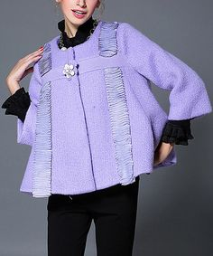 Another great find on #zulily! Purple Wool-Blend Swing Jacket - Plus Too #zulilyfinds