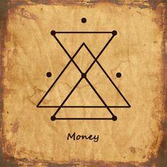 MONEY Sigil Wiccan Symbols, Magic Symbols, Spiritual Symbols, Symbols And Meanings, Sacred Symbols, Viking Symbols, Egyptian Symbols, Viking Runes, Ancient Symbols
