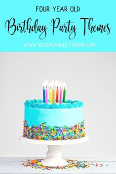 The best birthday party themes for your four year old! Click and save for a list of the top birthday party ideas for your soon to be 4 year old! 4 Year Old Boy Birthday, Small Birthday Parties, Girls Birthday Party Themes, Fourth Birthday, Baby Birthday, Birthday Decorations, Birthday Celebration, Birthday Cakes, Birthday Ideas
