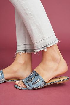 Vicenza Palm Print Slide Sandals