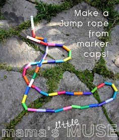 Make your own jump rope with marker lids...