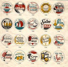 Vintage retro Art Deco milk caps collage clip art by BigGDesigns