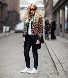 Leopard coat, Adidas Stan Smith, & Other Stories, streetstyle, Stockholm streetstyle