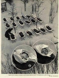 Infants sleeping in the open air after lunch at a maternity hospital in Moscow, Amazing Images With Little Known Stories From History
