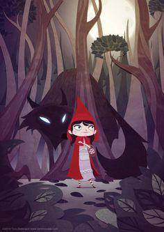 Little Red Riding Hood Picture illustration, fairy, tales, scary, cartoon) Little Red Hood, Little Red Ridding Hood, Red Riding Hood, Illustrations, Illustration Art, Charles Perrault, Digital Art Gallery, Art Manga, Image Digital