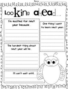 FREE looking ahead reflection for end of the year. Use this at the end of the year and keep it to give back to kids!