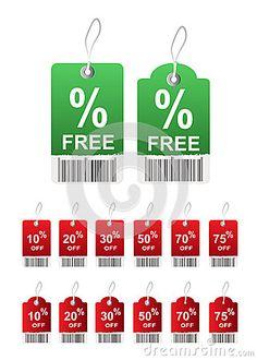 Etiqueta que indican descuento del precio. % free. 10% 20% 50% 70% 75%. Adjunto a las etiquetas van los códigos de barras.