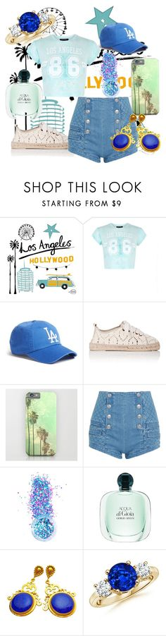 """los angeles"" by virginia-san ❤ liked on Polyvore featuring beauty, Claudia Pearson, New Look, American Needle, Manebí, Pierre Balmain and In Your Dreams"