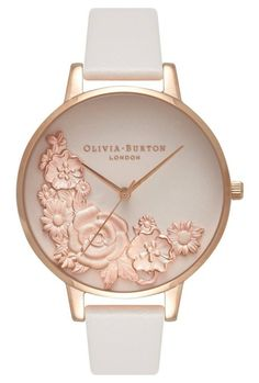 Moulded Floral Bouquet Blush & Rose Gold Watch by Olivia Burton, London Elegant Watches, Stylish Watches, Bijoux Or Rose, Pink Watch, Do It Yourself Fashion, Rose Gold Watches, White Watches, Blush Roses, Blush Bouquet