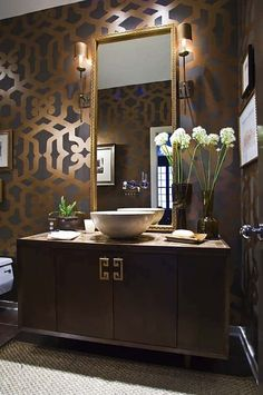 Gorgeous bathroom in taupe, brown, gray, and antique gold. Love the wall for a powder room Decor, Gorgeous Bathroom, House Design, Interior, House Styles, Bathrooms Remodel, Bathroom Design, Bathroom Decor, Beautiful Bathrooms