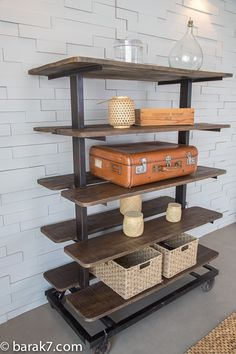 Industrial shelving unit in wood and metal