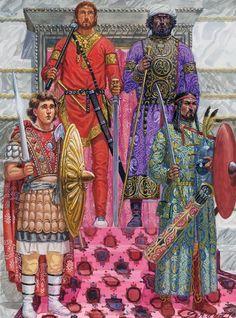 Giuseppe Rava - La guardia palaciega bizantina en una ceremonia en Constantinopla, 31 de May del 946.