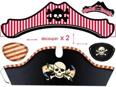 hat and eye patch - Pinned it & Did It for Steve's birthday party . Printed an eyepatch for everyone to wear - So much fun! Party Fiesta, Oh My Fiesta, Pirate Birthday, Pirate Theme, Pirate Invasion, Pirate Kids, Pirate Crafts, Party Kit, Photo Booth Props