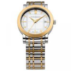 Burberry Round Two Tone Bracelet Watch Burberry Watch, Burberry Men, Silver Man, Watch Brands, Quartz Watch, Watches For Men, Men's Watches, Gold Watch, Jewelry Stores