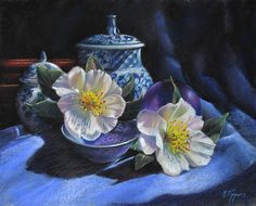 """Camellias And Blue Vases by Marie Tippets Pastel ~ 16"""" x 20"""""""