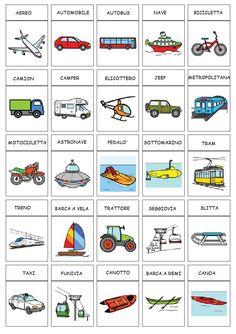 comuniCAAzione: Categoria: trasporti Italian Grammar, Italian Vocabulary, Italian Language, English Vocabulary, Italy For Kids, Italian Lessons, Montessori Baby, Learning Italian, Colorful Drawings