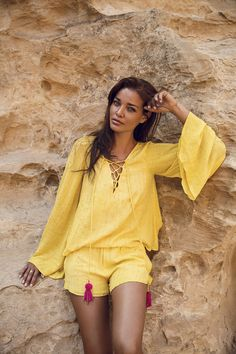 This adorable Anais top was designed in a fabric adorned by sequins. The soft deep V-neckline add a delicious touch. It falls beautifully with the matching Anais short by Sundress Yellow Sundress, Cover Up, Sequins, Neckline, Collection, Fabric, How To Wear, Deep, Touch