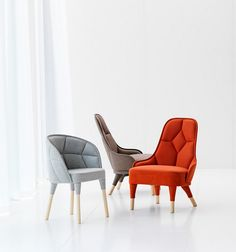 chairs modern design: Elegantly Connected: EMMA and EMILY Padded Chair Designs by Färg & Blanche