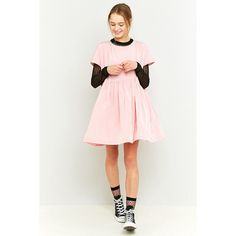 rework by Urban Outfitters Pink Babydoll Dress (£85) ❤ liked on Polyvore featuring dresses, pink, vintage day dress, pink mini dress, babydoll dress, pink satin dress and vintage mini dress