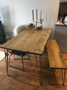 - Furniture for Kitchen - Reclaimed Dining Table. Rustic industrial scaffold board salvage plank solid wood warehouse furniture Recovered Dining Table and Bench. Dining Table Set in. Hairpin Dining Table, Reclaimed Dining Table, Industrial Dining, Dining Room Table, Retro Dining Table, Reclaimed Wood Dining Table, Rustic Wood Dining Table, Kitchen Table With Bench, Metal Leg Dining Table