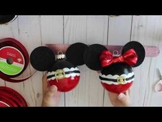 DiY Mickey and Minnie Christmas Ornament. Im not a craft expert, just sharing how I diy Mickey and Minnie Mouse ornaments. Mickey Mouse Ornaments, Minnie Mouse Christmas, Disney Ornaments, Beaded Christmas Ornaments, Holiday Crafts For Kids, Christmas Projects, Christmas Crafts, Kid Crafts, Christmas 2019